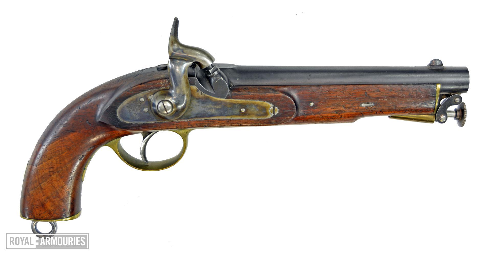 Percussion pistol. Enfield Cavalry India Pattern. Smooth Bore. Calibre .656 inch. Fitted with integral articulated rammer. RHS view of pistol PR.10511