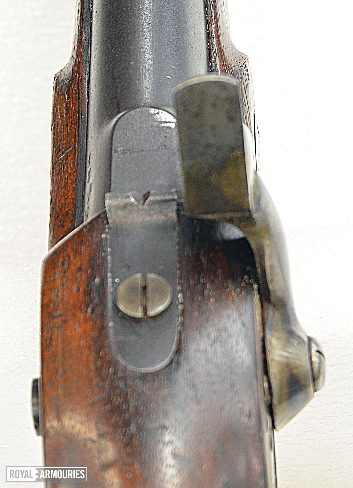 Percussion pistol. Enfield Cavalry India Pattern. Smooth Bore. Calibre .656 inch. Shown is non-adjustable rear sight PR.10511
