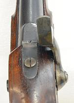 Thumbnail image of Percussion pistol. Enfield Cavalry India Pattern. Smooth Bore. Calibre .656 inch. Shown is non-adjustable rear sight PR.10511