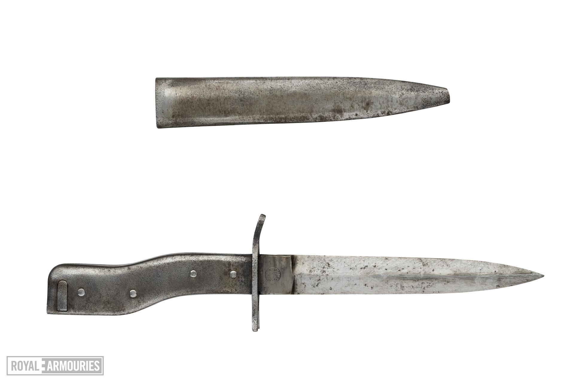 "All metal ""Demag"" type bayonet/trench knife, with scabbard. German, 1914-1918"
