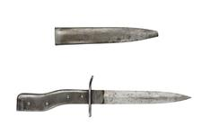 "Thumbnail image of All metal ""Demag"" type bayonet/trench knife, with scabbard. German, 1914-1918"