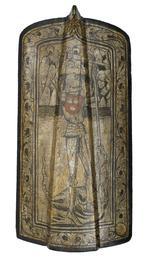 Thumbnail image of Pavise bearing the arms of Zwickau, Bohemian, mid 15th century (V.1)