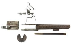 Thumbnail image of Flintlock six-shot revolver by Collier. A revolving cylinder pistol that requires the cylinder to be manually turned. It has an octagonal barrel, with single pipe for a wooden cleaning rod. The cylinder is six-shot, and has a frizzen mounted to the right of the barrel, as would normally be found on a standard flintlock pistol. The rotation of the cylinder permits the touch-hole to line up with the frizzen. There is a sliding cover over the touch hole. The trigger guard is squared at the rear, and the butt is fully chequered. The lockplate, tang and top of the barrel are foliate engraved, with the Union Jack and Stand of Arms also incorporated. XII.4000