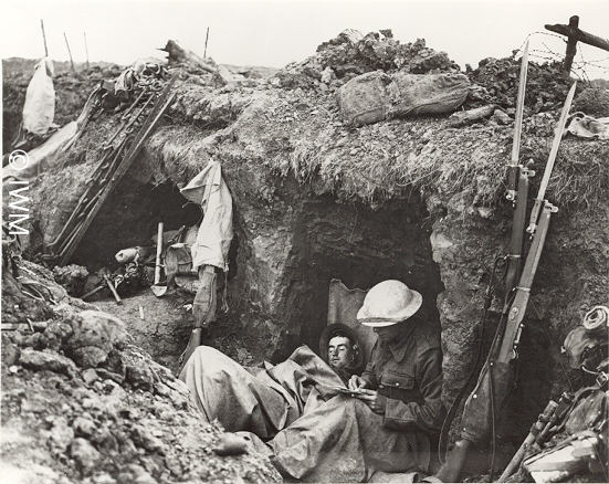 Photograph showing a British trench, about 1916.