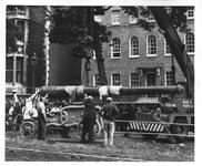 Thumbnail image of Gun - 24-pounder Gun and Carriage Long slender ornate bronze barrel. Highly decorated English cast-iron carriage dated 1827.