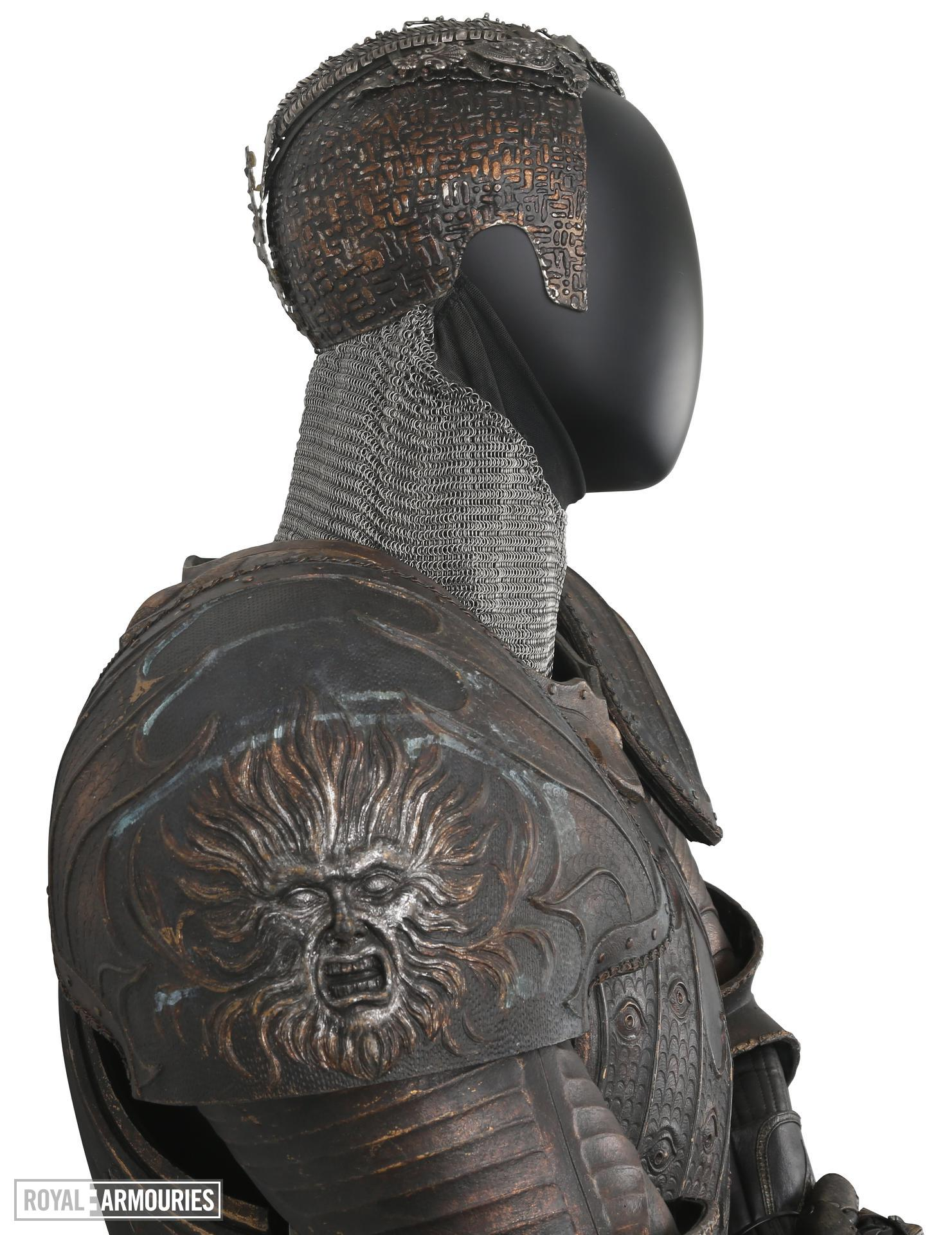 The Lord Marshal's costume from the film the Chronicles of Riddick. Ornately decorated and highly detailed. Bronze and black in appearance but made from hard rubber urethane and aluminium. II.409