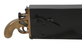 Thumbnail image of Miniature Maxim gun. Hiram Maxim was the first to engineer a gun that could fire continuously as long as its trigger was pulled. This reduced-scale gun was used to demonstrate the recoil operated mechanism. Because it fires the Mauser pistol cartridge, it is also technically the world's first submachine gun. PR.7163