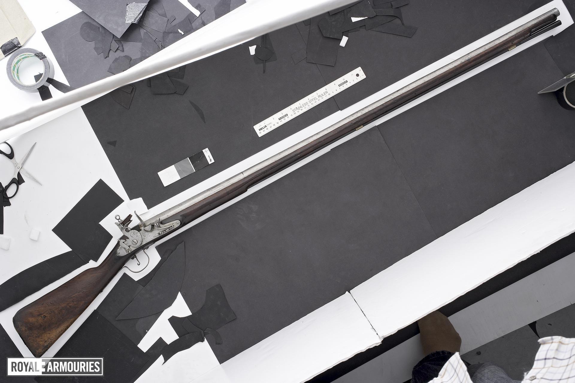 Flintlock muzzle-loading military musket - James II type