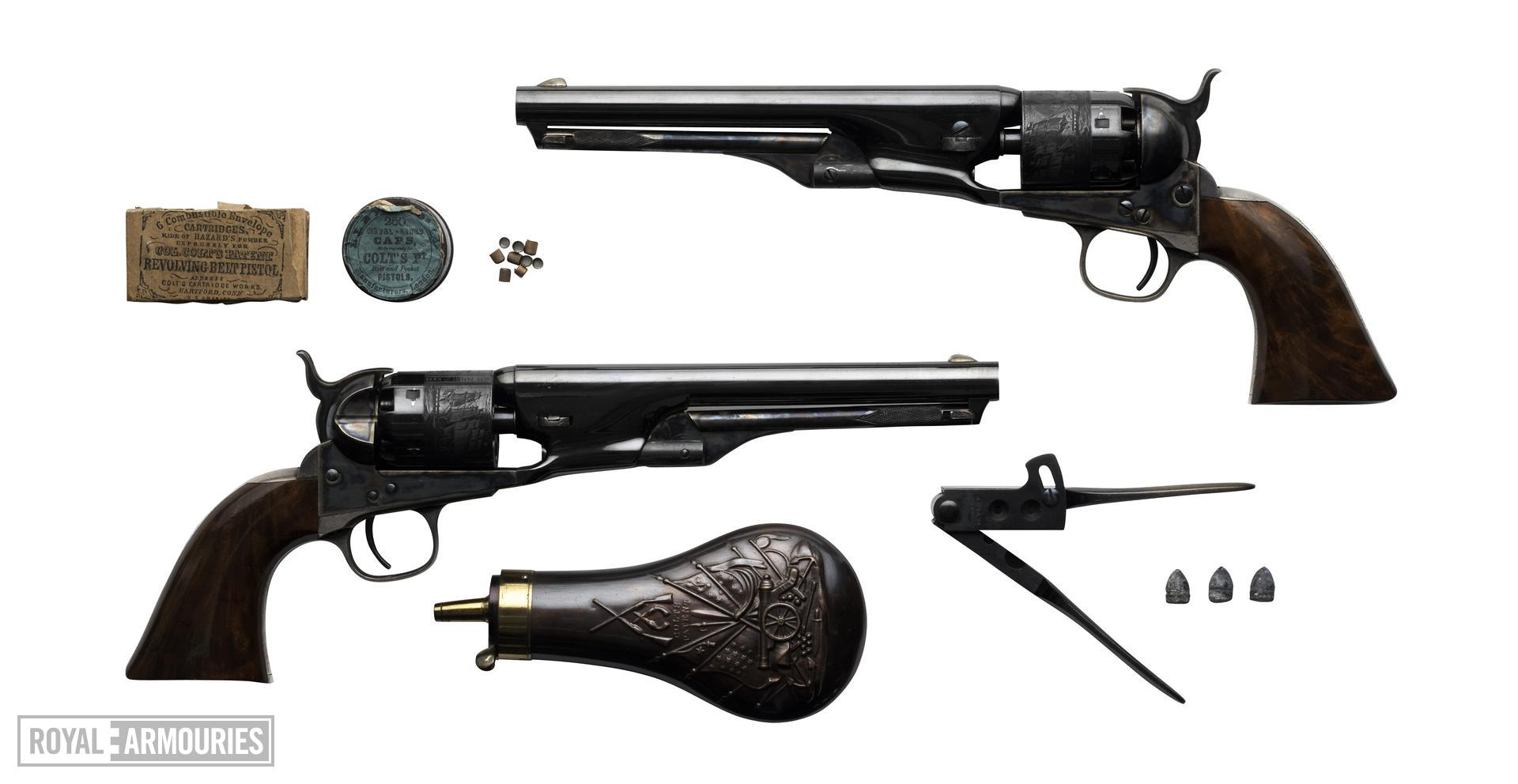 Percussion six-shot revolver - Colt Navy Model 1861 Presentation model to Mark Firth. Part of a cased set.