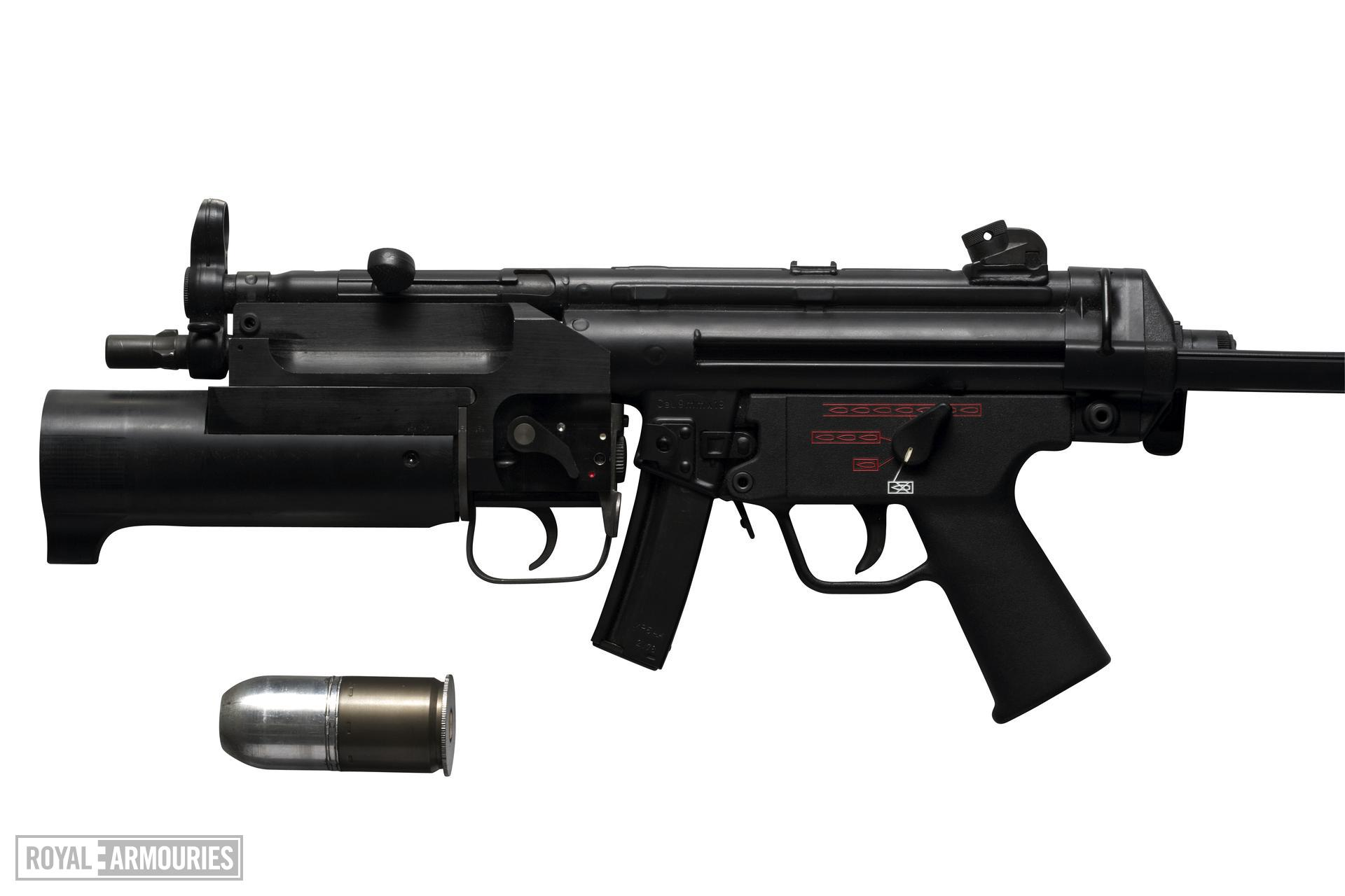 Centrefire automatic silenced submachine gun - H&K MP5 A5E With collapsable stock.