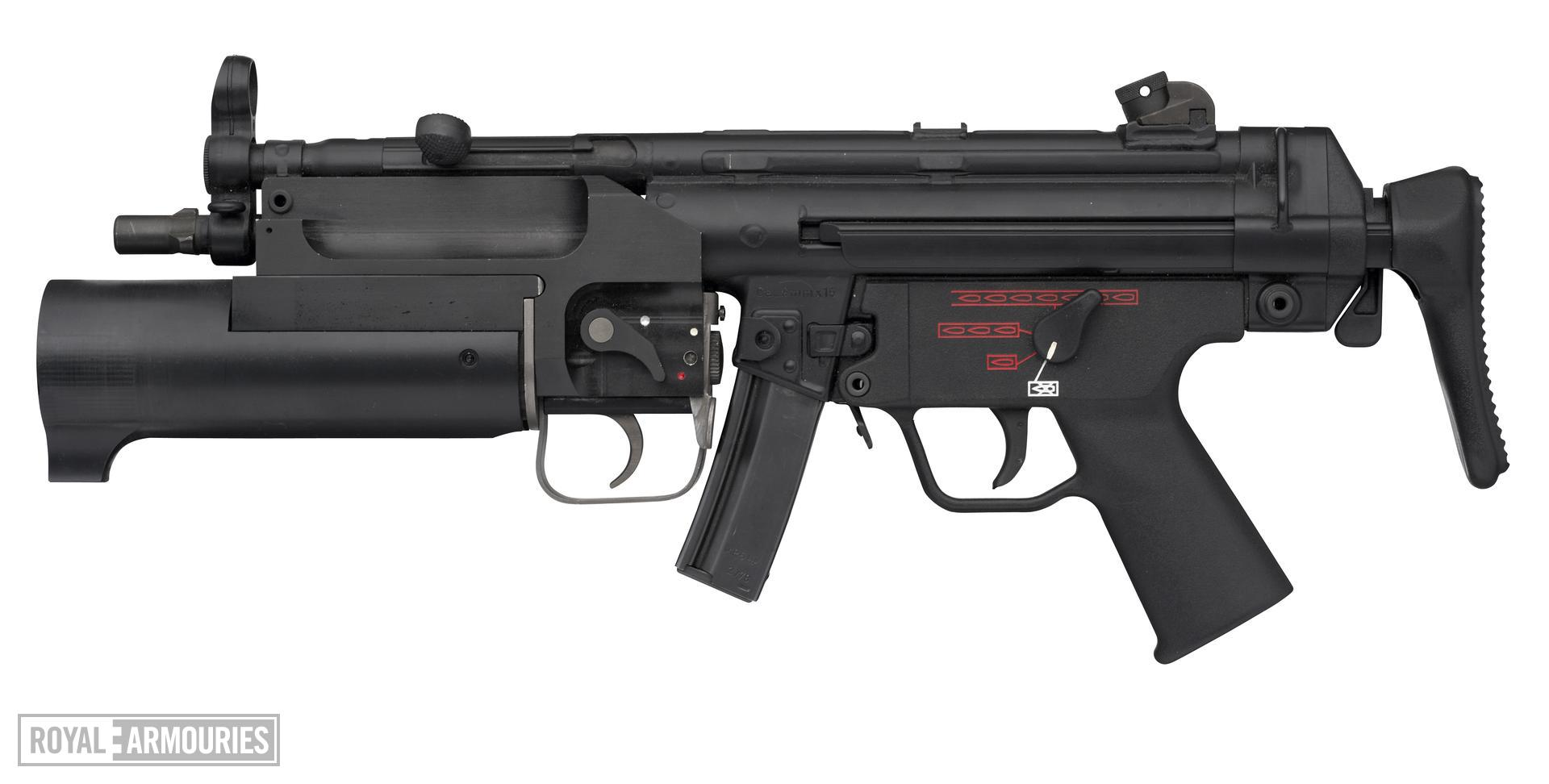 Centrefire automatic silenced submachine gun - Heckler and Koch MP5 A5E With collapsable stock.