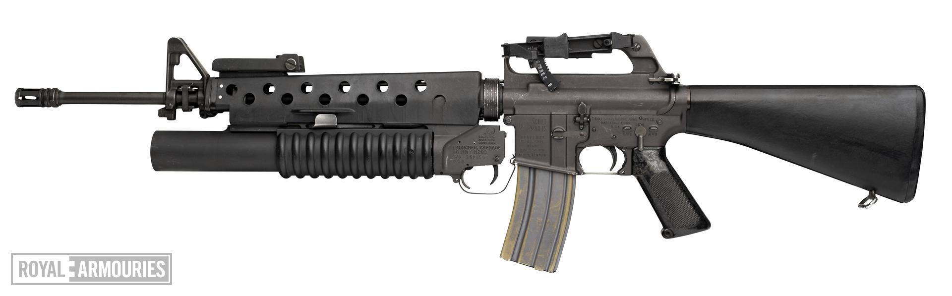 Centrefire automatic rifle - Colt Armalite Model 03 / 603 M16A1 Colt manufactured M16A1 fitted with M203 grenade launcher.