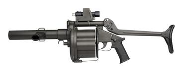 Thumbnail image of Centrefire six-shot repeating grenade launcher - Mechem MGL