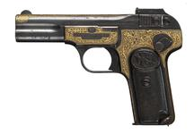 Thumbnail image of Centrefire self-loading pistol - FN Browning Model 1900 Inlaid in gold