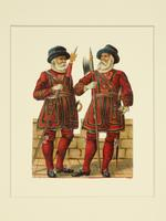 Thumbnail image of Print coloured 'scraps', showing a pair of Yeoman Warders in full dress.