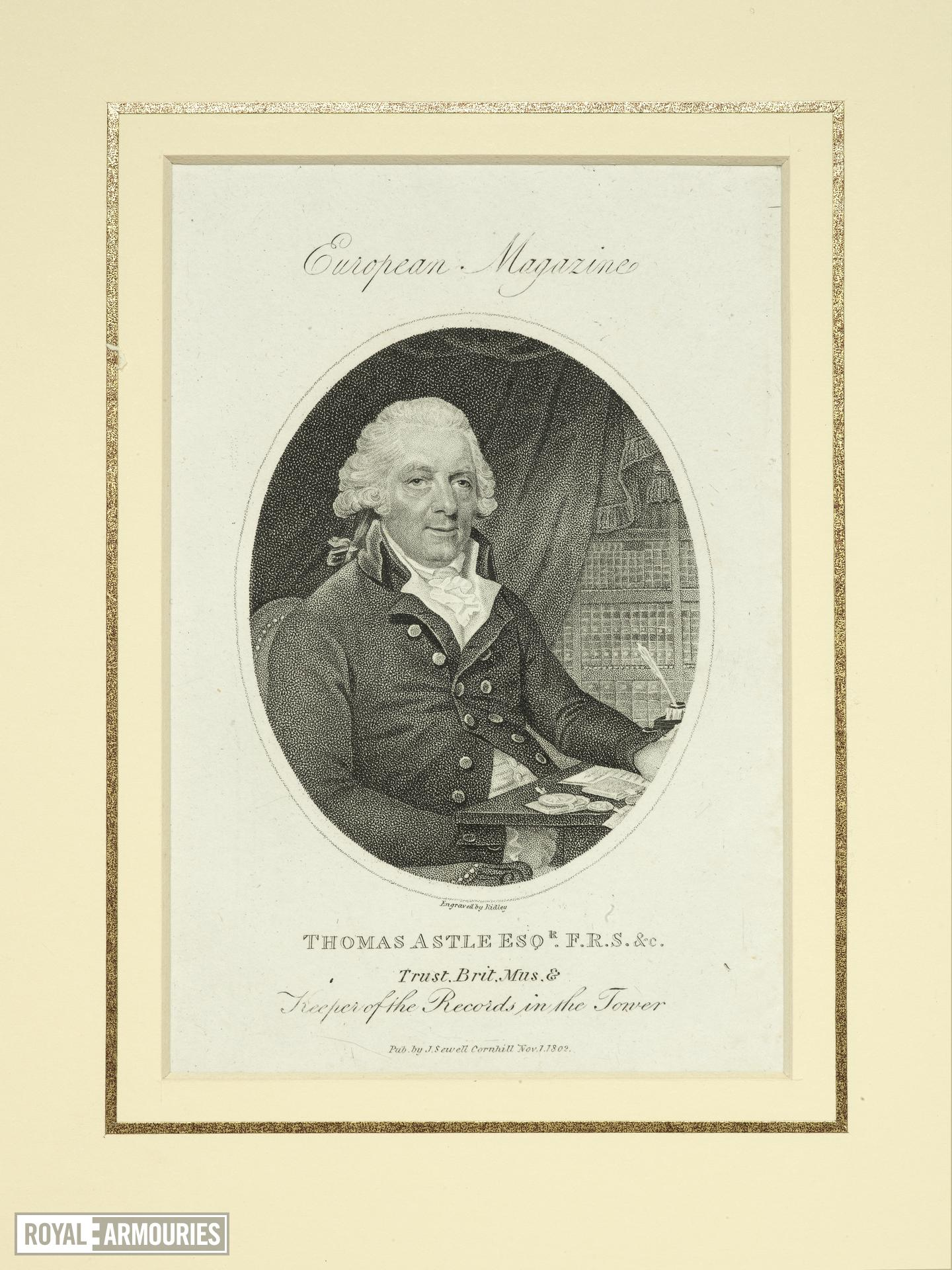 Print engraved portrait of Thomas Astle, keeper of the Record Office in the Tower, 1802.