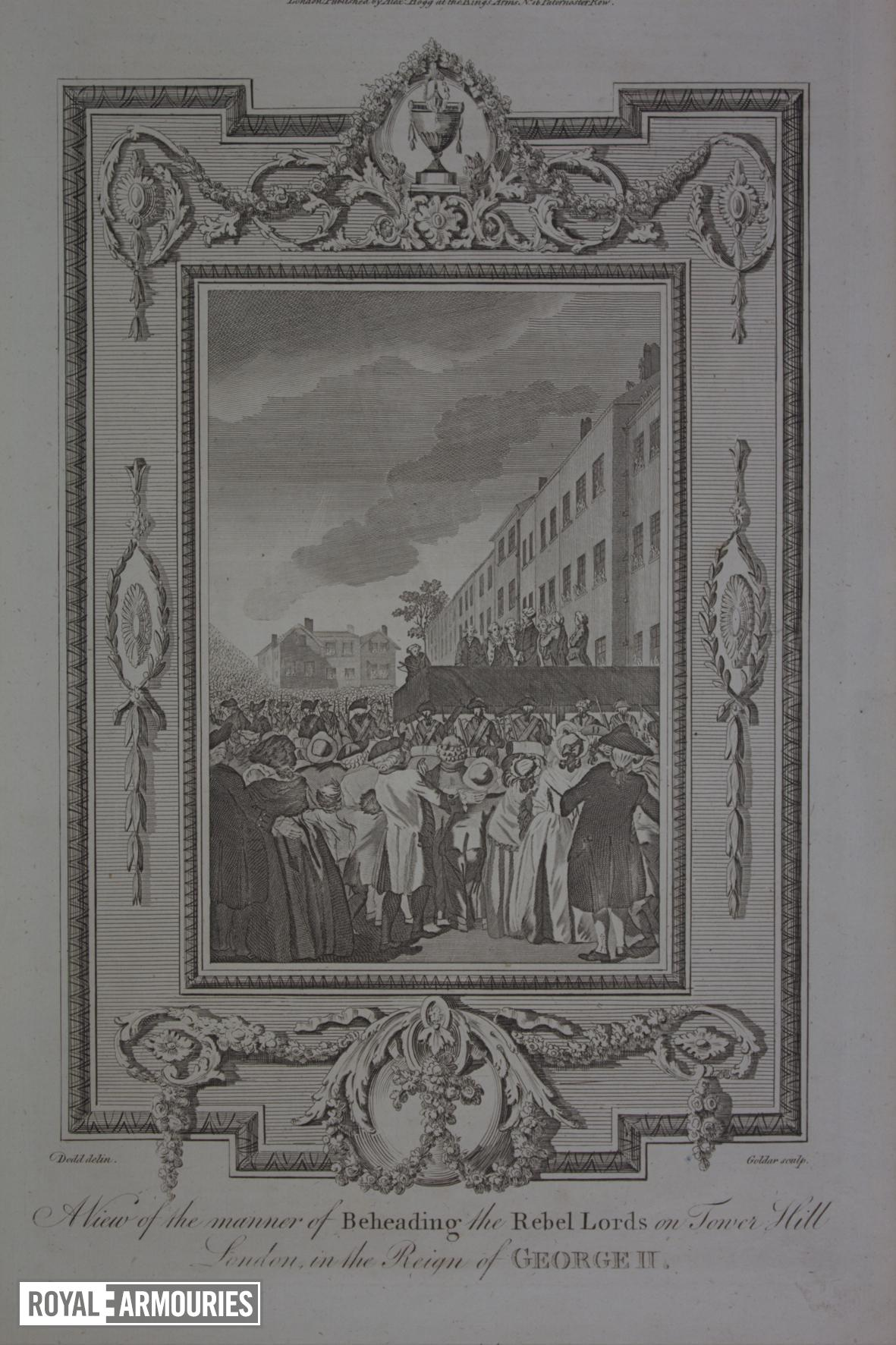 Print engraved print, about 1784, showing the execution of the rebel lords, 1746.