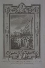 Thumbnail image of Print engraved print, about 1784, showing the execution of the rebel lords, 1746.