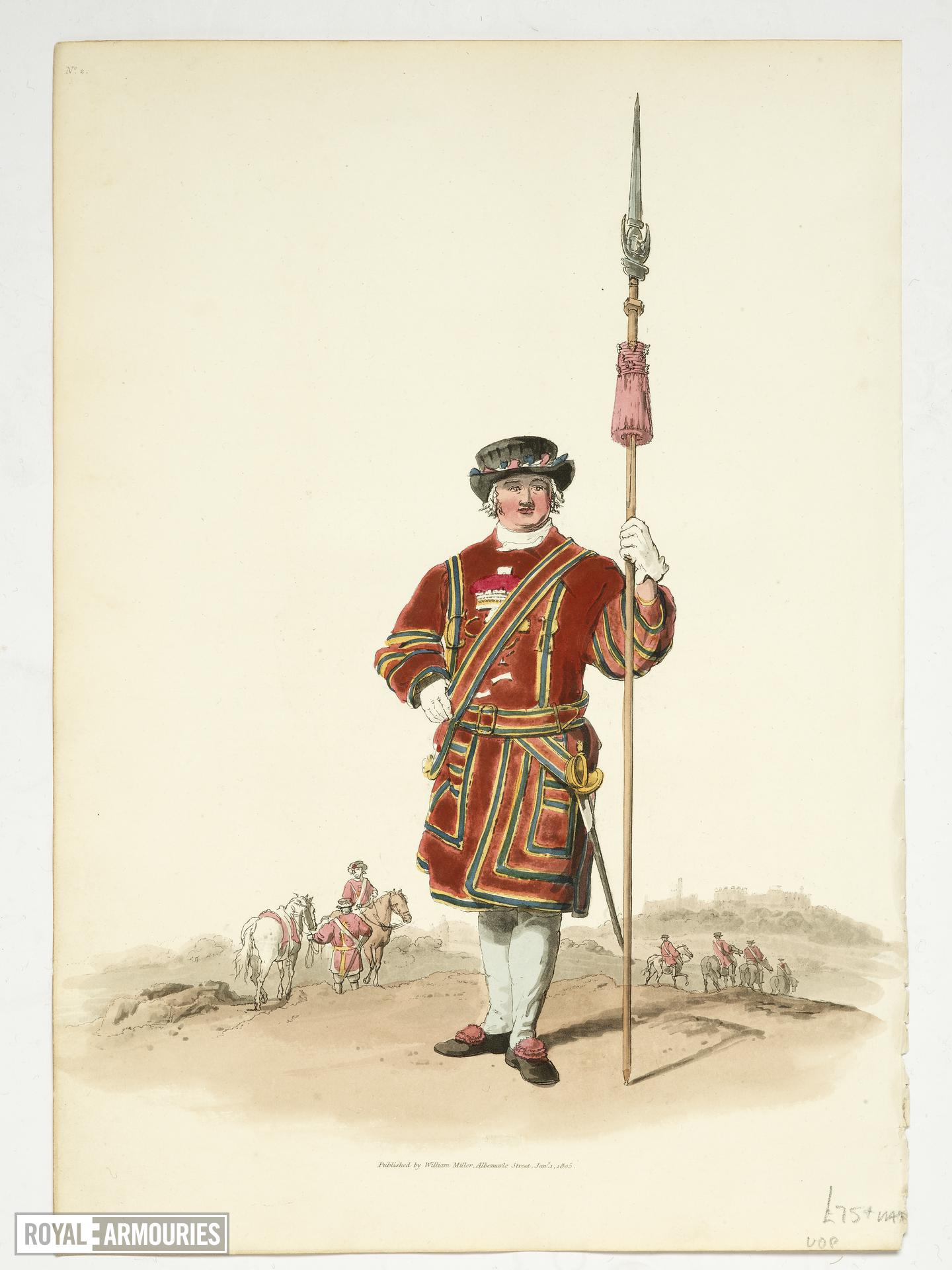 Aquatint Coloured aquatint of a member of the Yeoman of the King's Guard