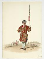 Thumbnail image of Aquatint Coloured aquatint of a member of the Yeoman of the King's Guard