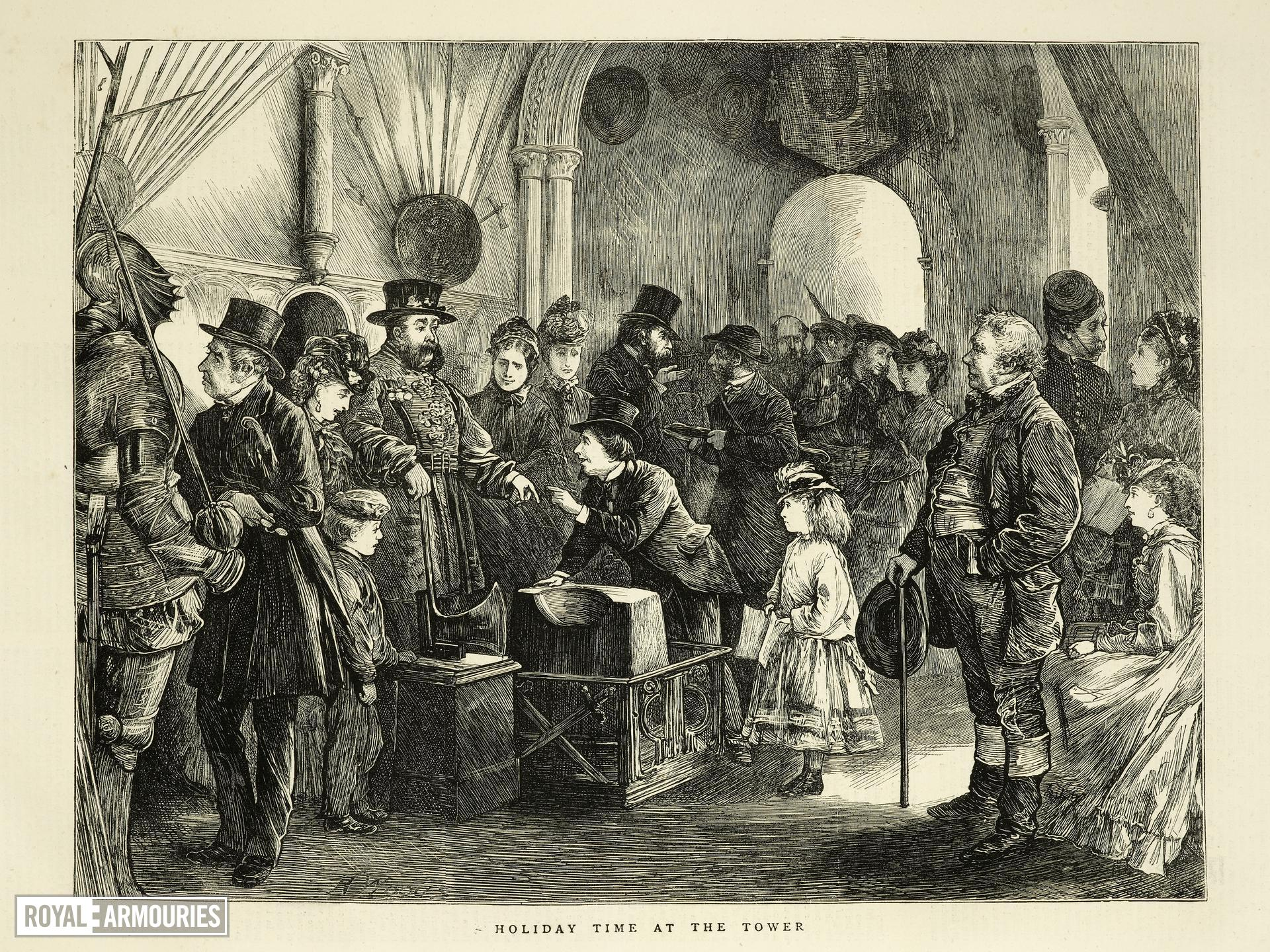 Engraving Titled 'Holiday time at the Tower'; from The Graphic, December 30th, 1871.