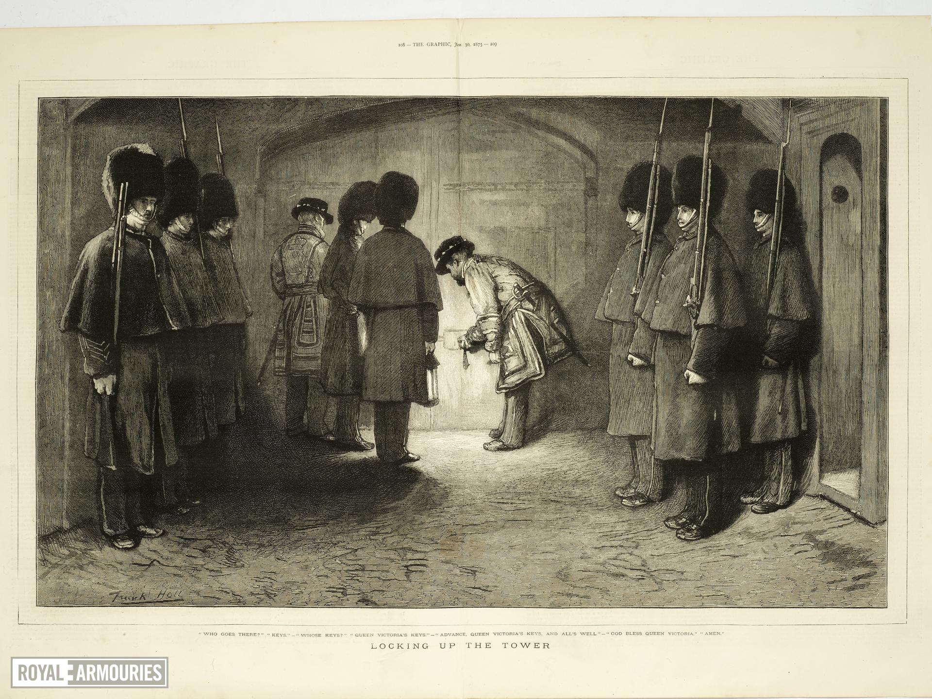 Engraving Titled 'Locking up the Tower'; from The Graphic, January 30th, 1875.