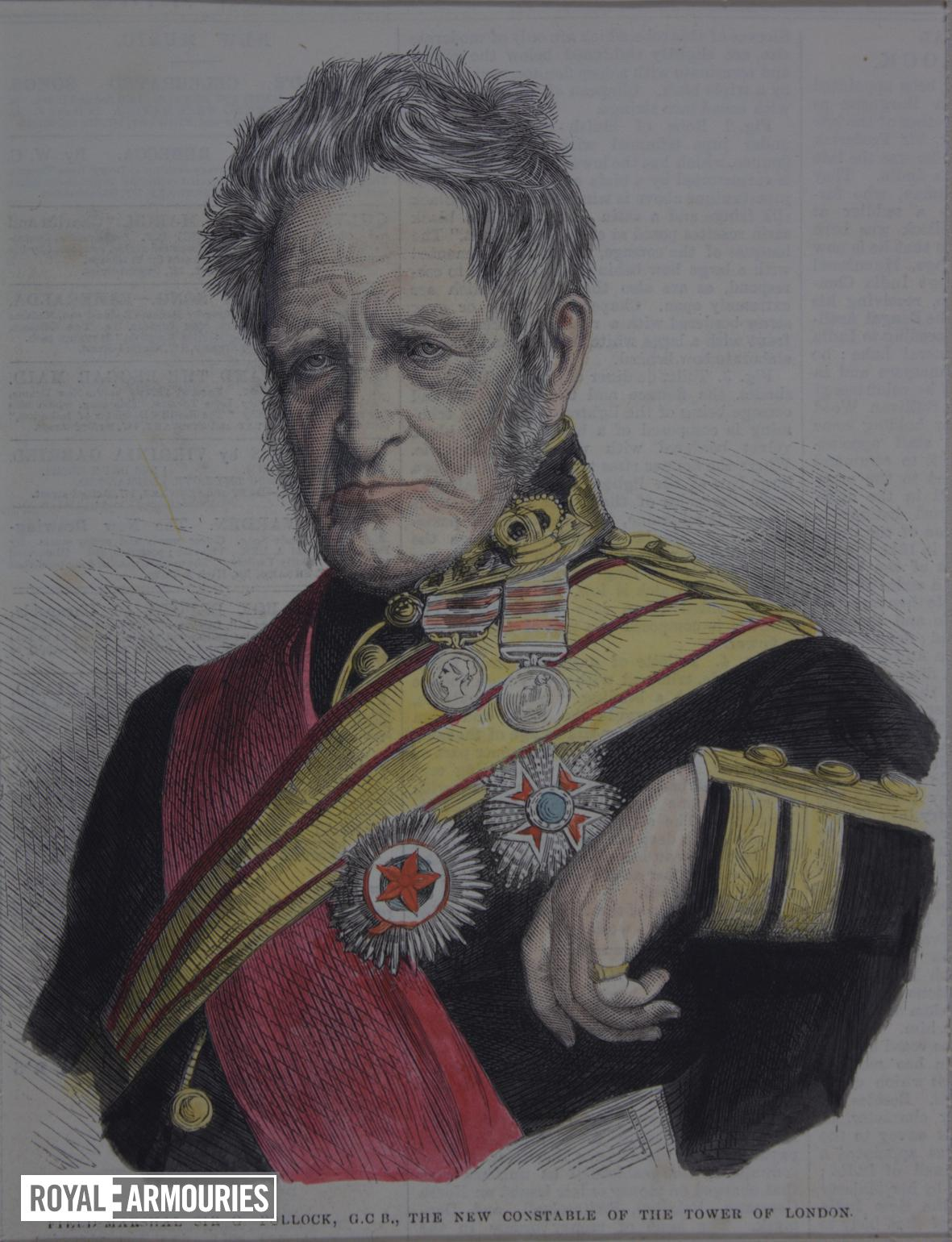 Engraving Portrait of the Constable of the Tower, Field Marshal Sir G Pollock. Extracted from the Illustrated London News and hand coloured.