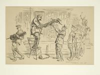 Thumbnail image of Drawing Cartoon, 'Lord Kitchener at the Tower', dated June 1916. Presented by F.H Townsend Art Editor of Punch 5th December 1916.