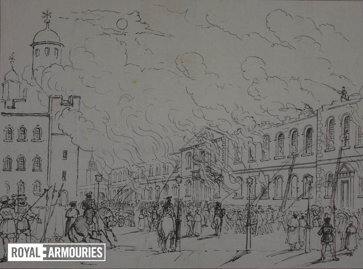 Drawing 'Awful Conflagration at the Tower of London', 1841.