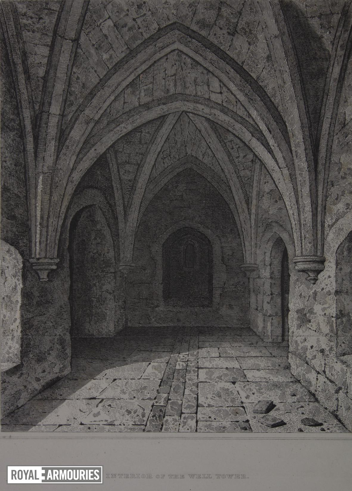 Print 'Interior of the Well Tower', Tower of London, about 1820.