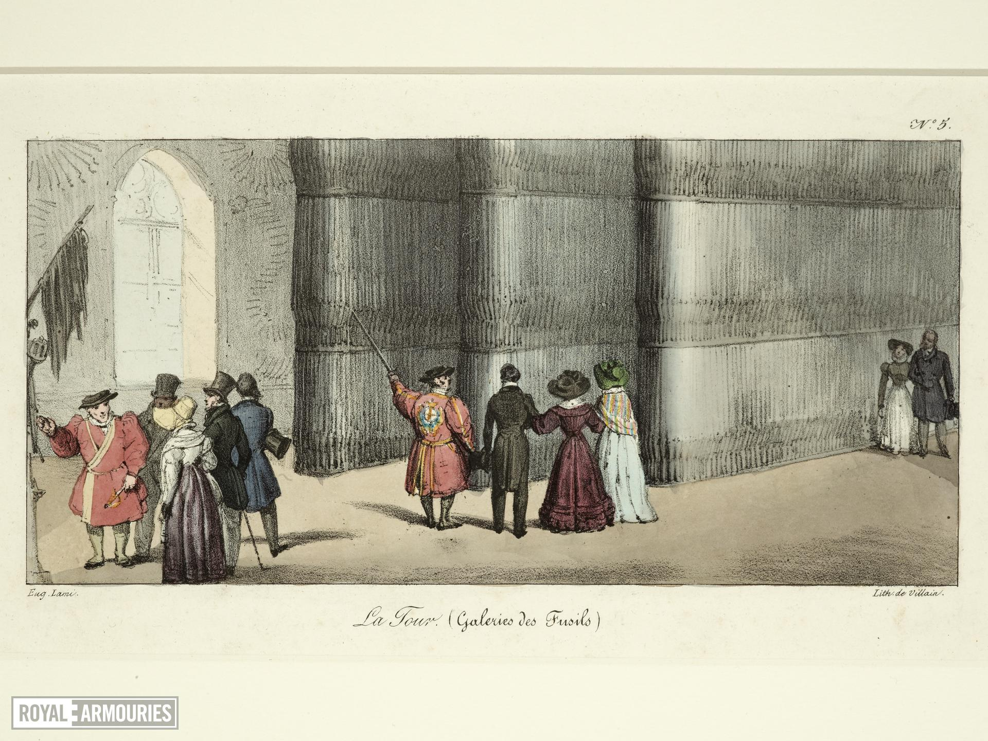 Print Coloured lithograph, entitled: 'La Tour (Galeries des Fusils)', about 1830.