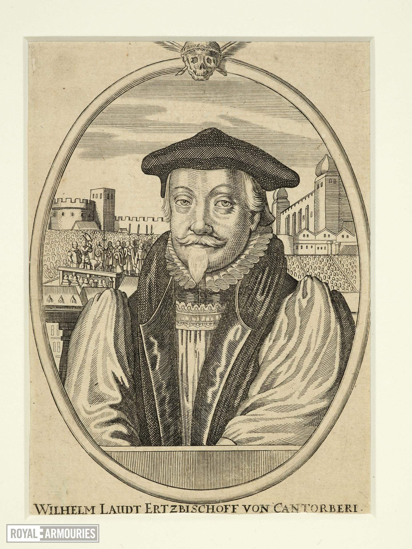 Print Engraved portrait of Archbishop Laud, with a view of his execution and the Tower of London behind.