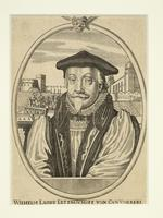 Thumbnail image of Print Engraved portrait of Archbishop Laud, with a view of his execution and the Tower of London behind.