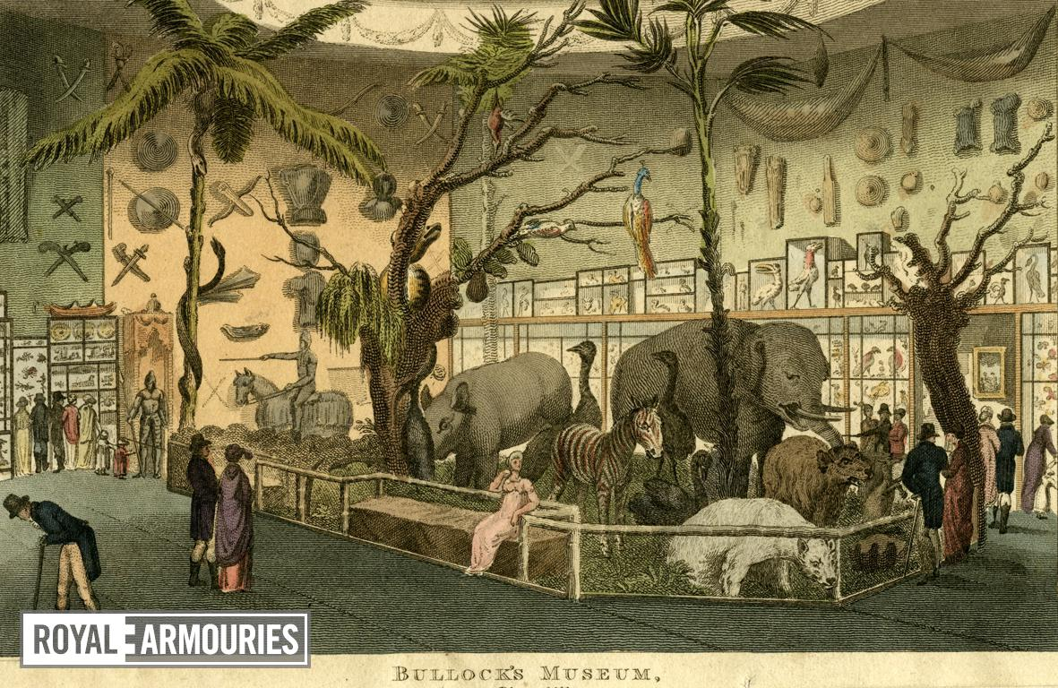 Print Coloured engraving:  'Bullock's Museum'.