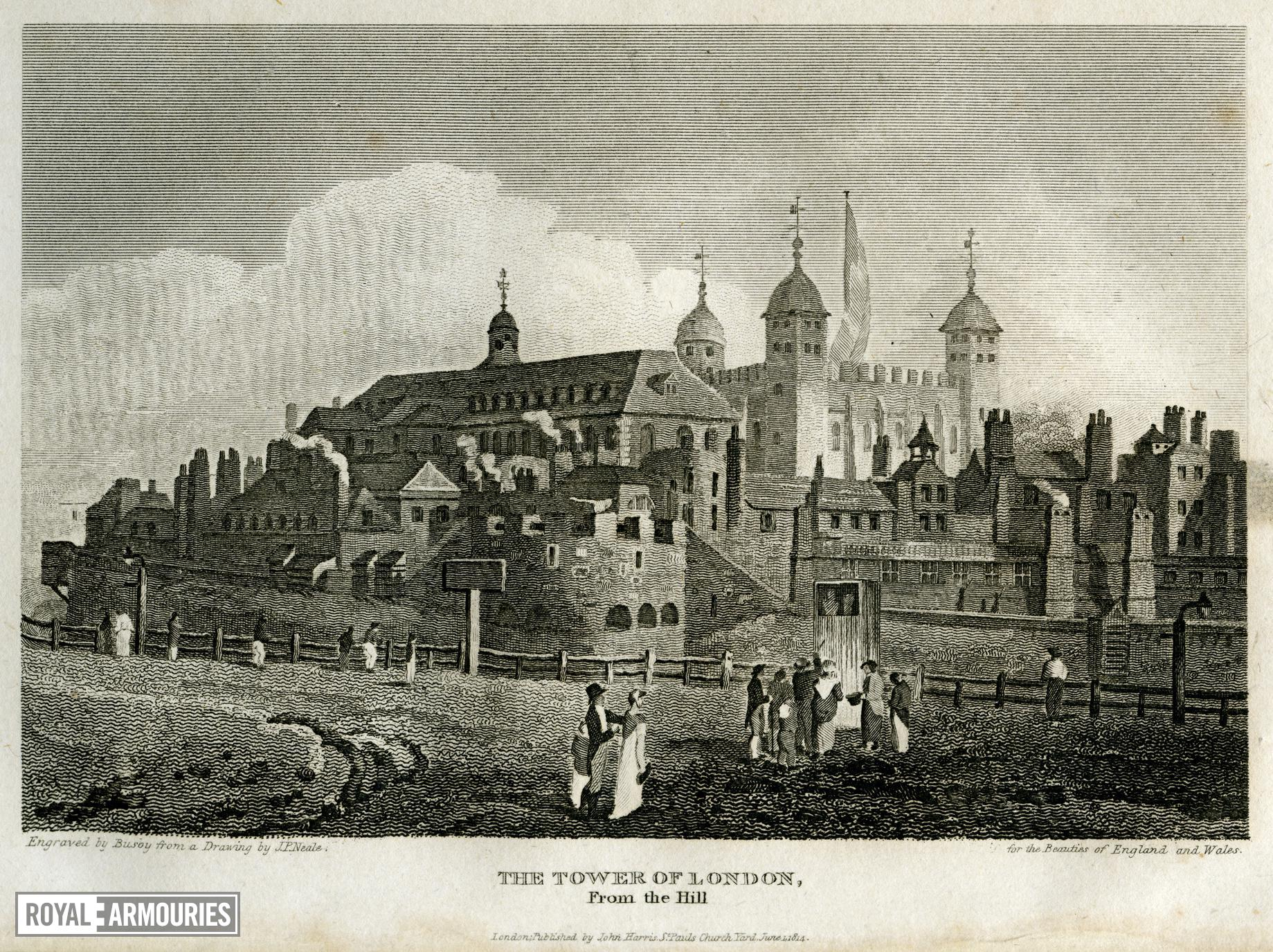 Print engraving of Tower of London from Tower Hill, about 1815.