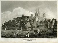 Thumbnail image of Print engraving of Tower of London from Tower Hill, about 1815.