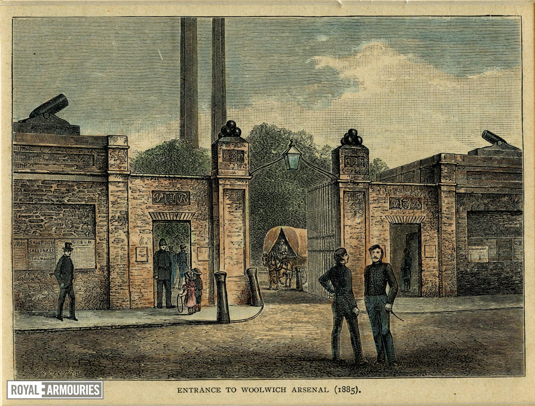 Print (Modern) watercolour wash over line engraving entitled 'Entrance to Woolwich Arsenal (1885)'