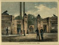 Thumbnail image of Print (Modern) watercolour wash over line engraving entitled 'Entrance to Woolwich Arsenal (1885)'