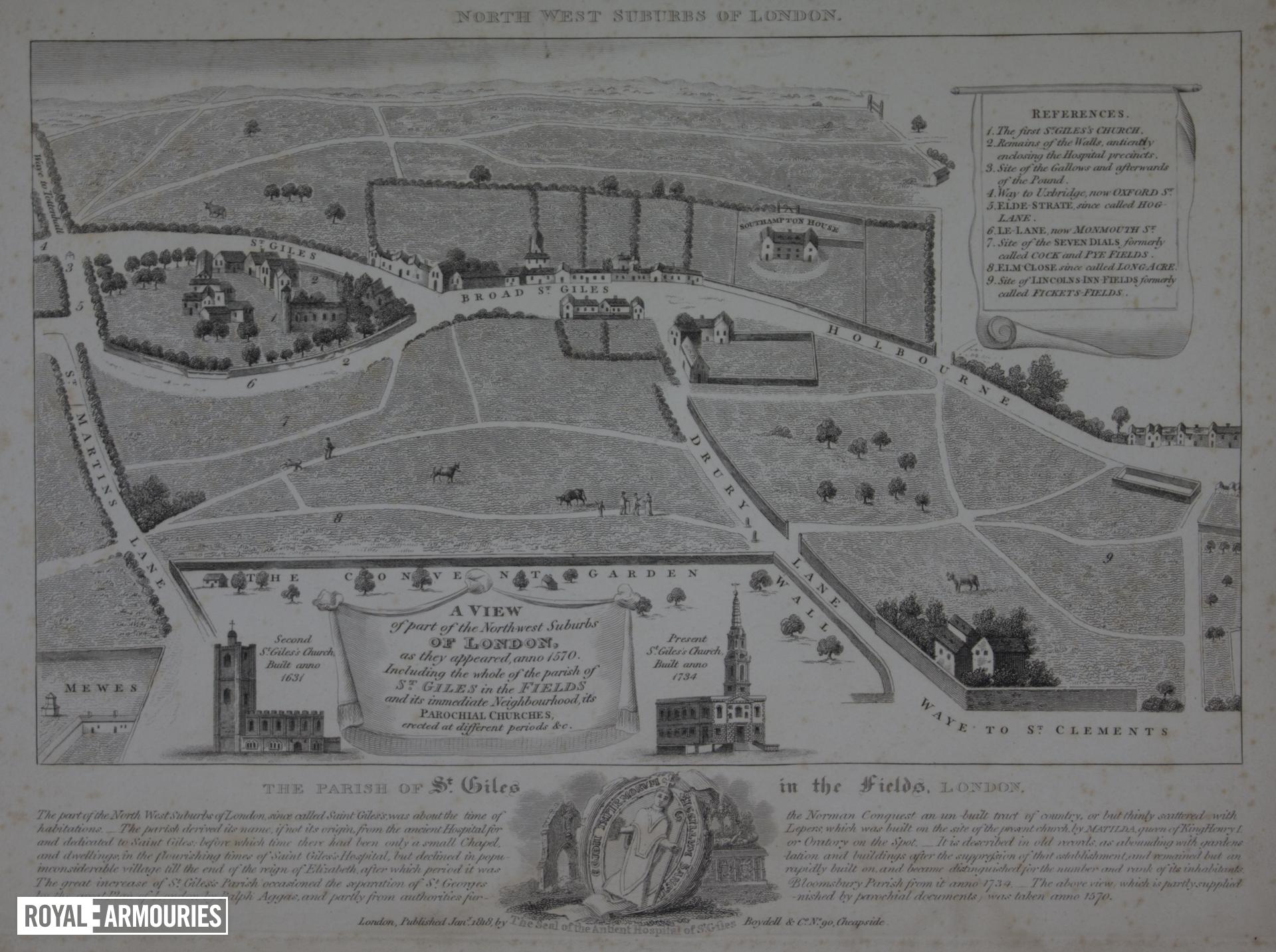 Print A View of the North West Suburbs of London, dated 1818