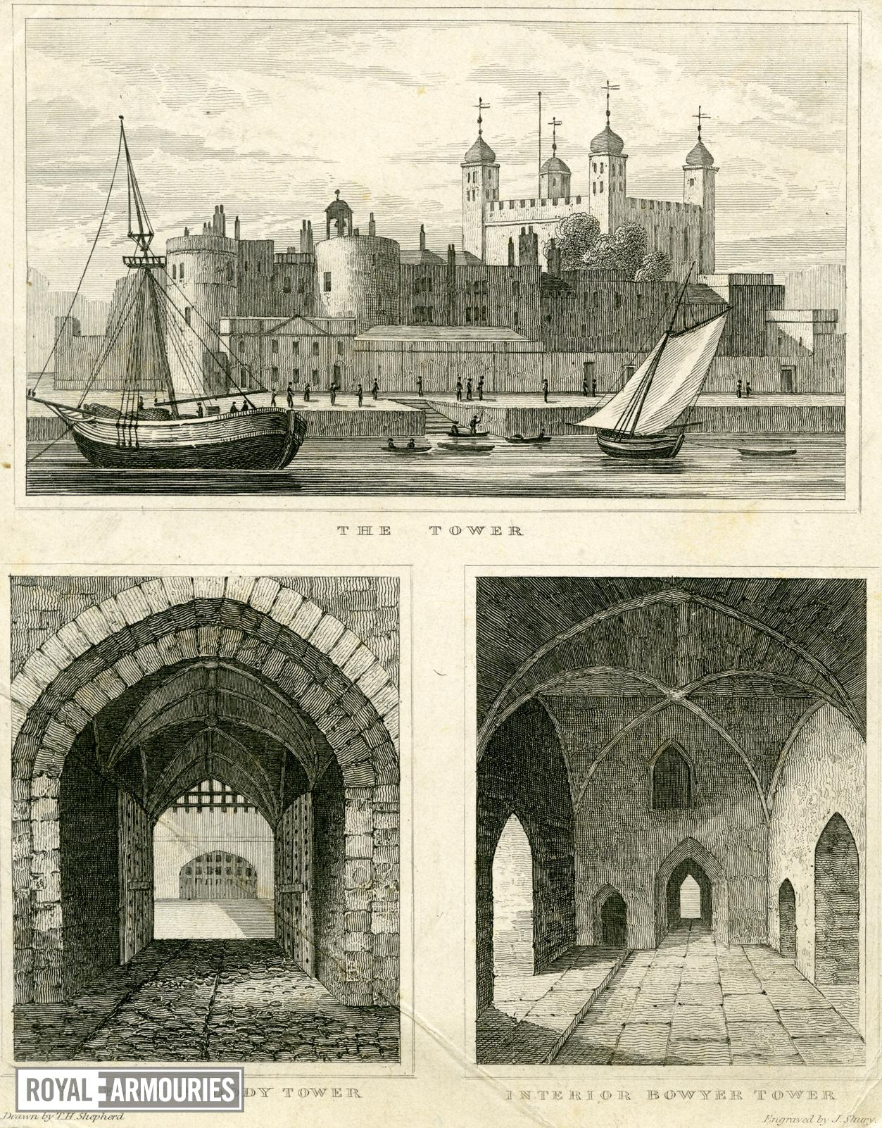 Print Three small views of the Tower of London, abt. 1830