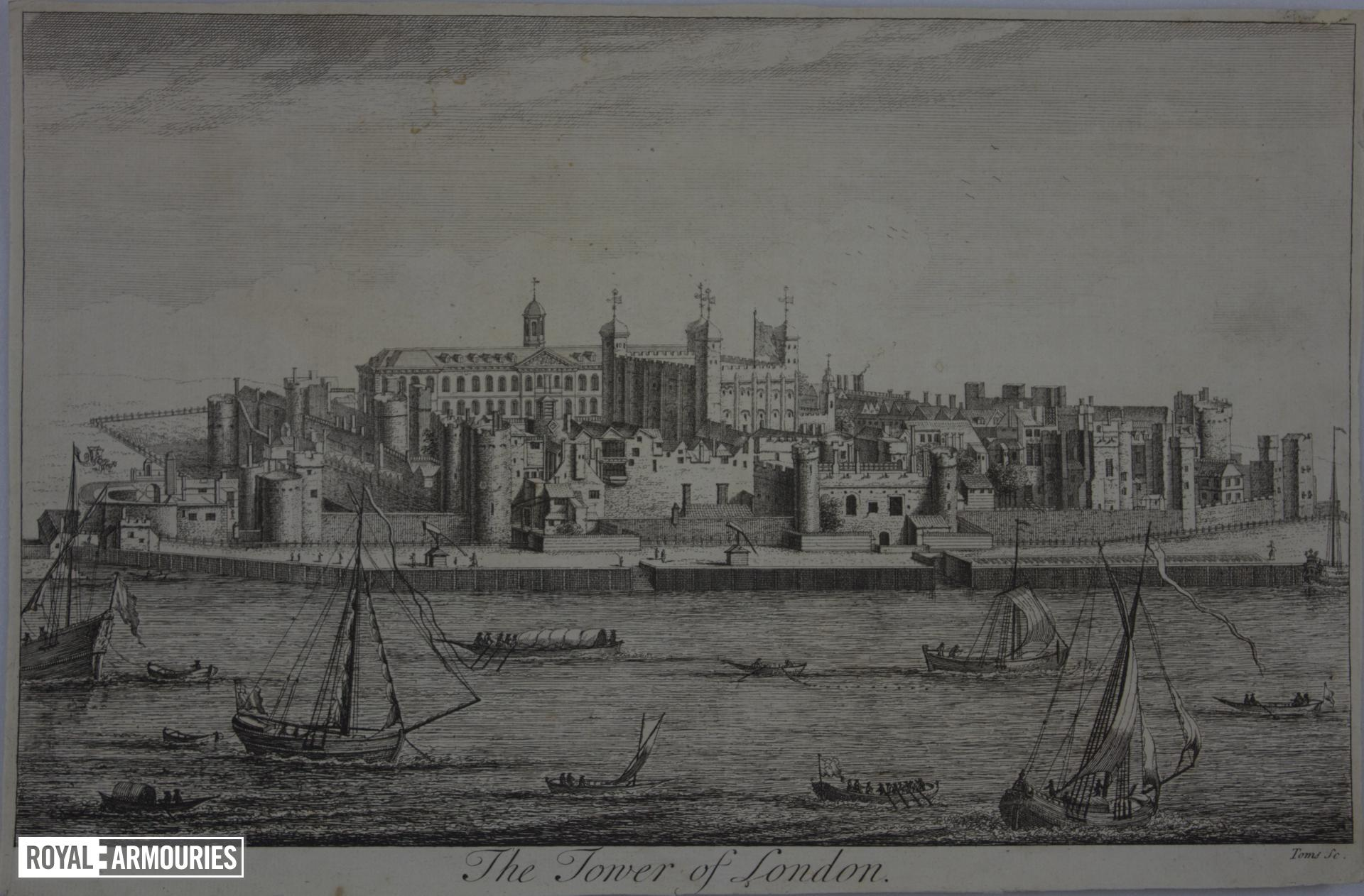 Print Engraving:  The Tower of London, abt. 1739.