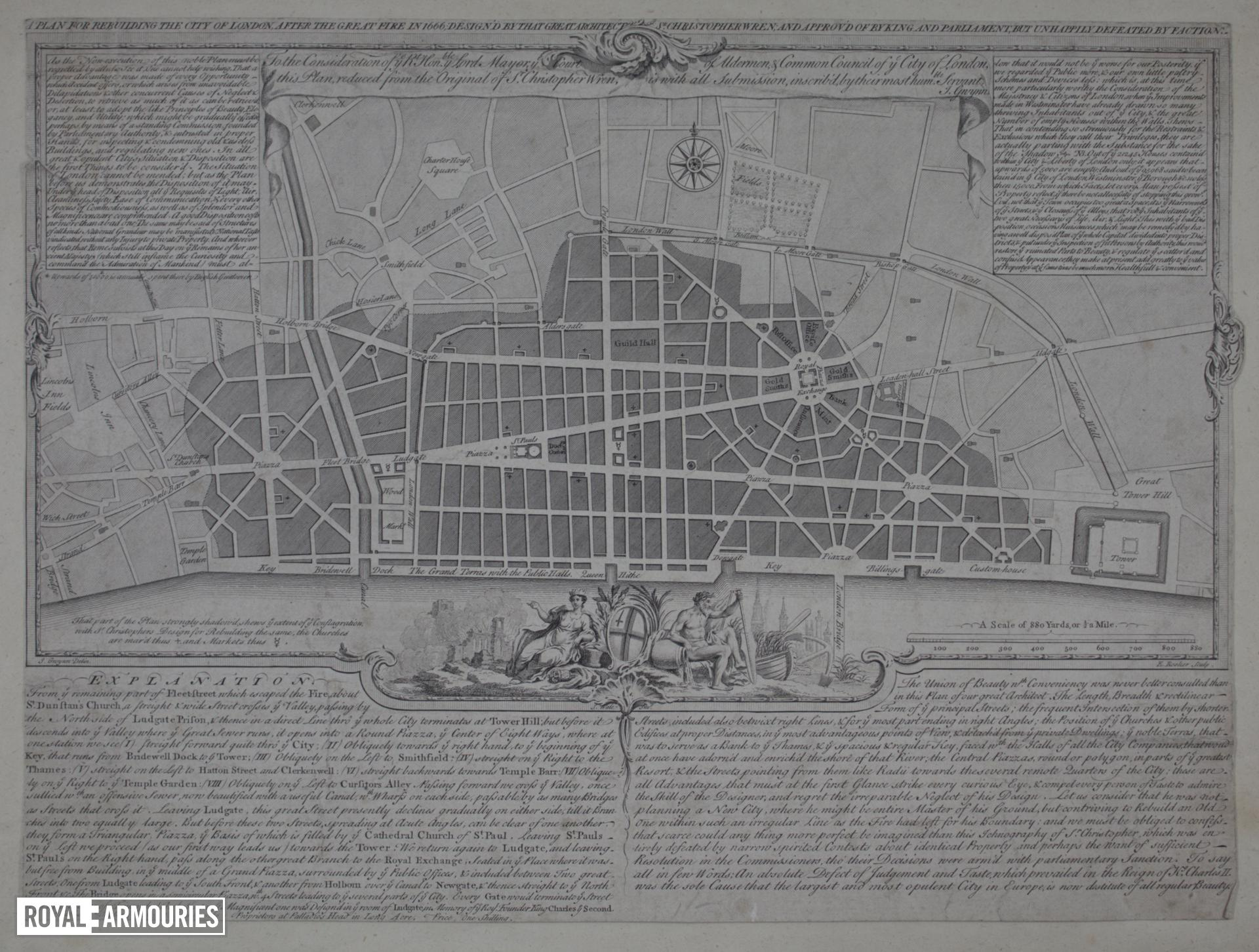 Print Engraving:  'A Plan for rebuilding the City of London after the Great Fire in 1666.'