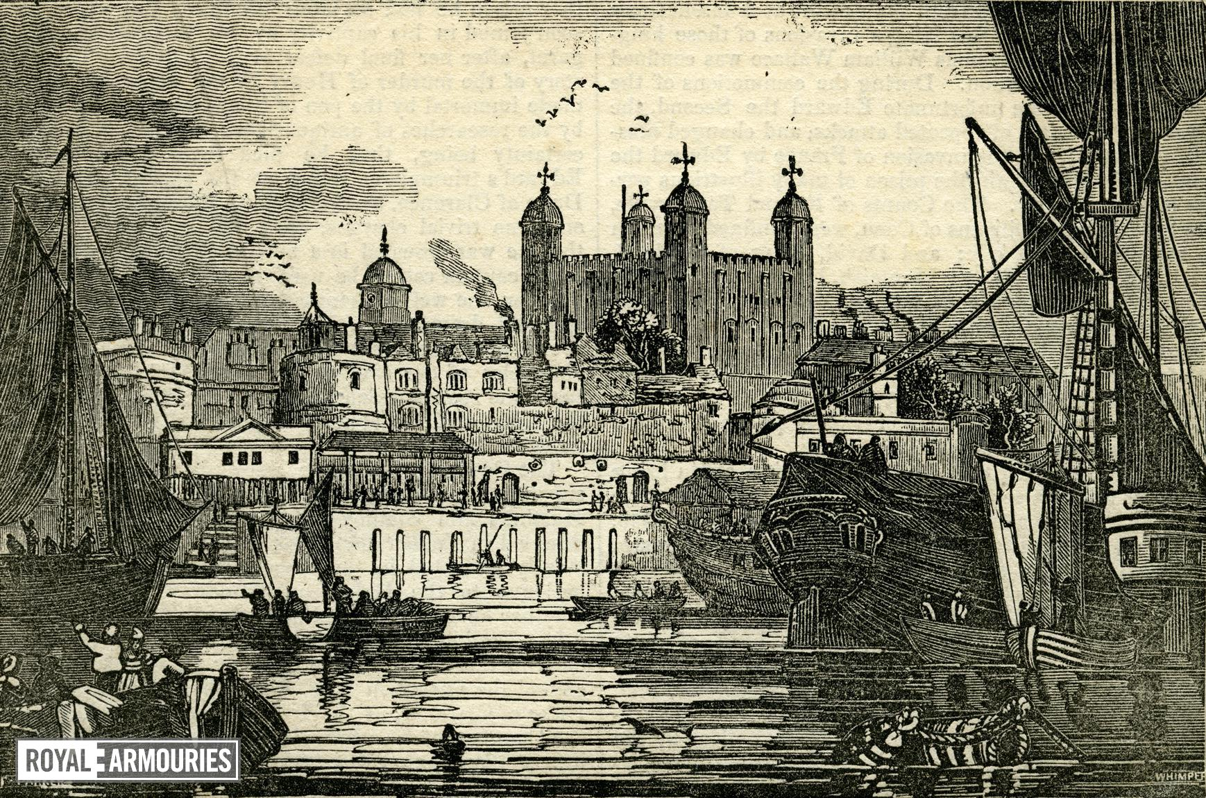 Print View of the Tower of London from the Thames.