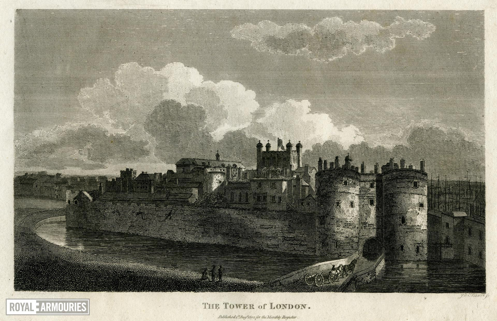 Print 'The Tower of London', showing the bridge over the moat and the entrance through the Byward Tower, 1802.