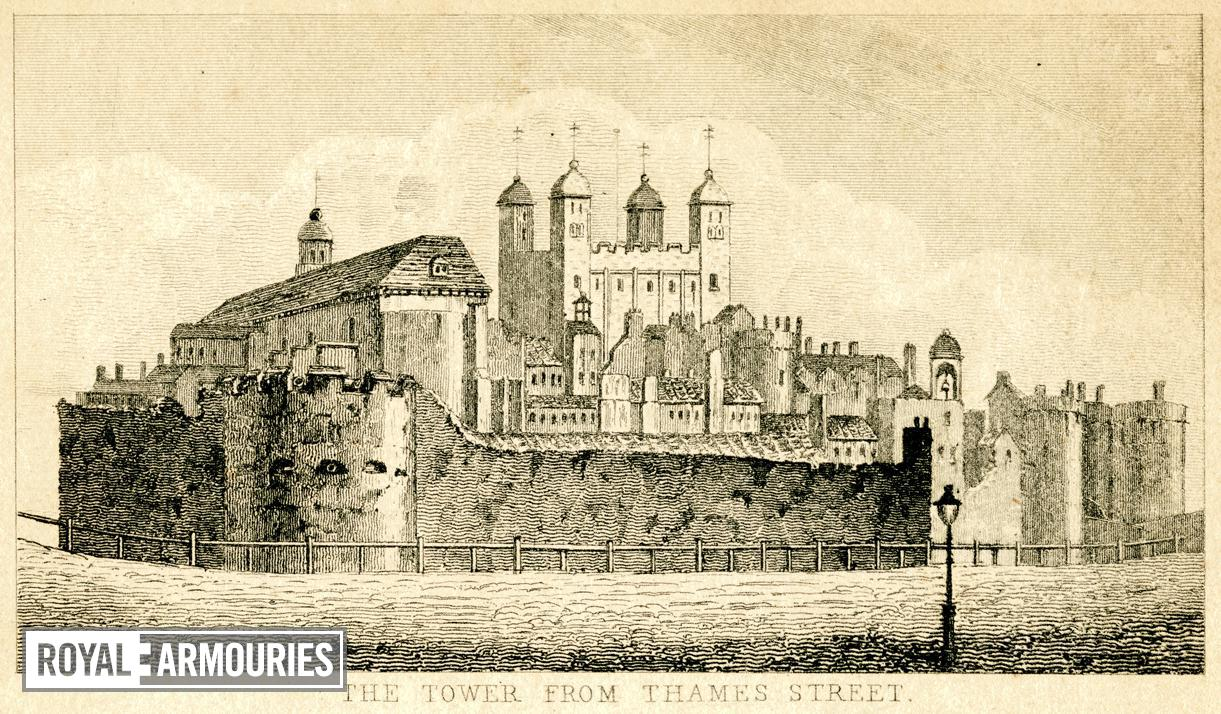 Print 'The Tower from Thames Street', about 1805.