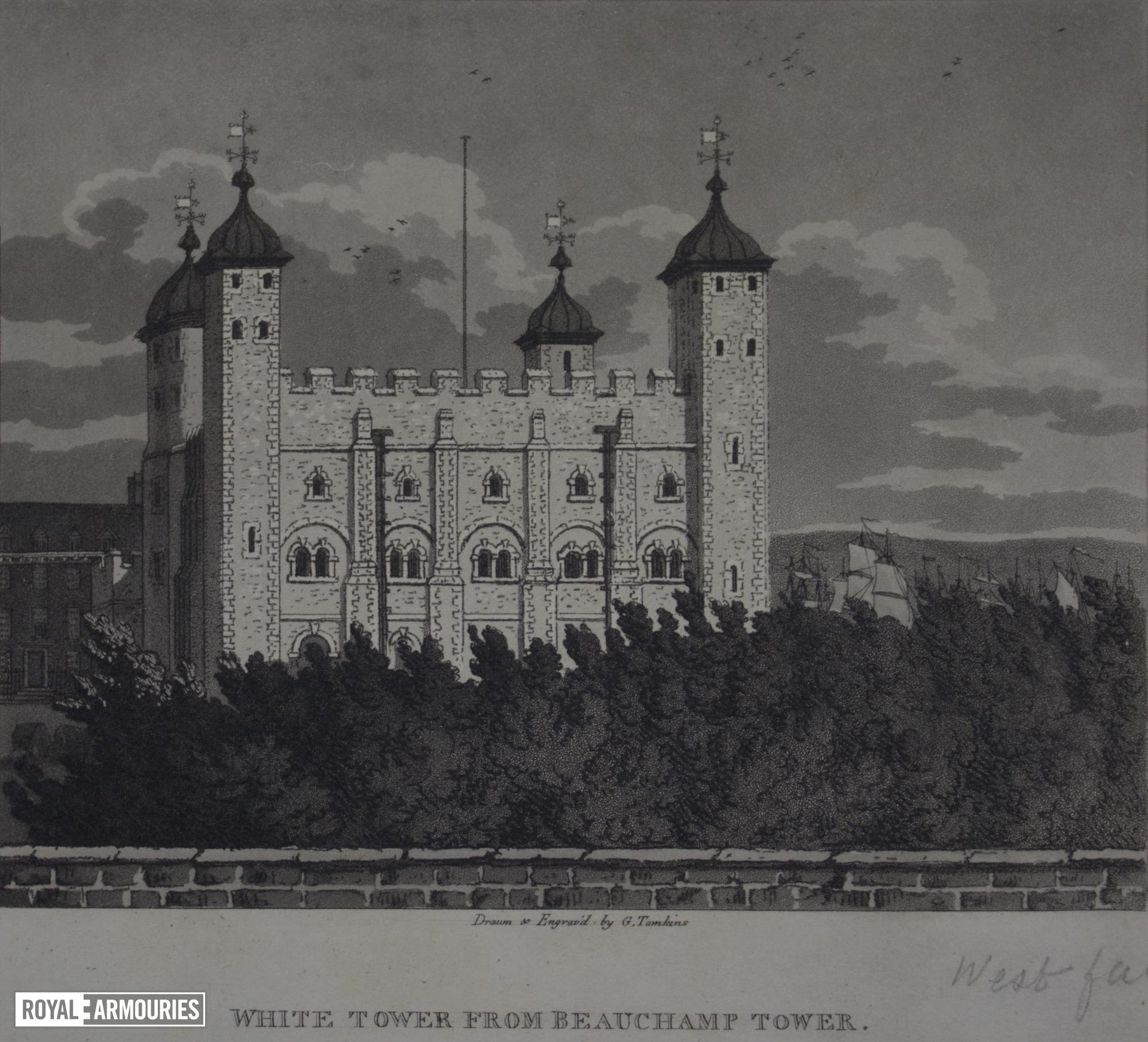 Print 'White Tower from Beauchamp Tower', Tower of London, dated 1806.