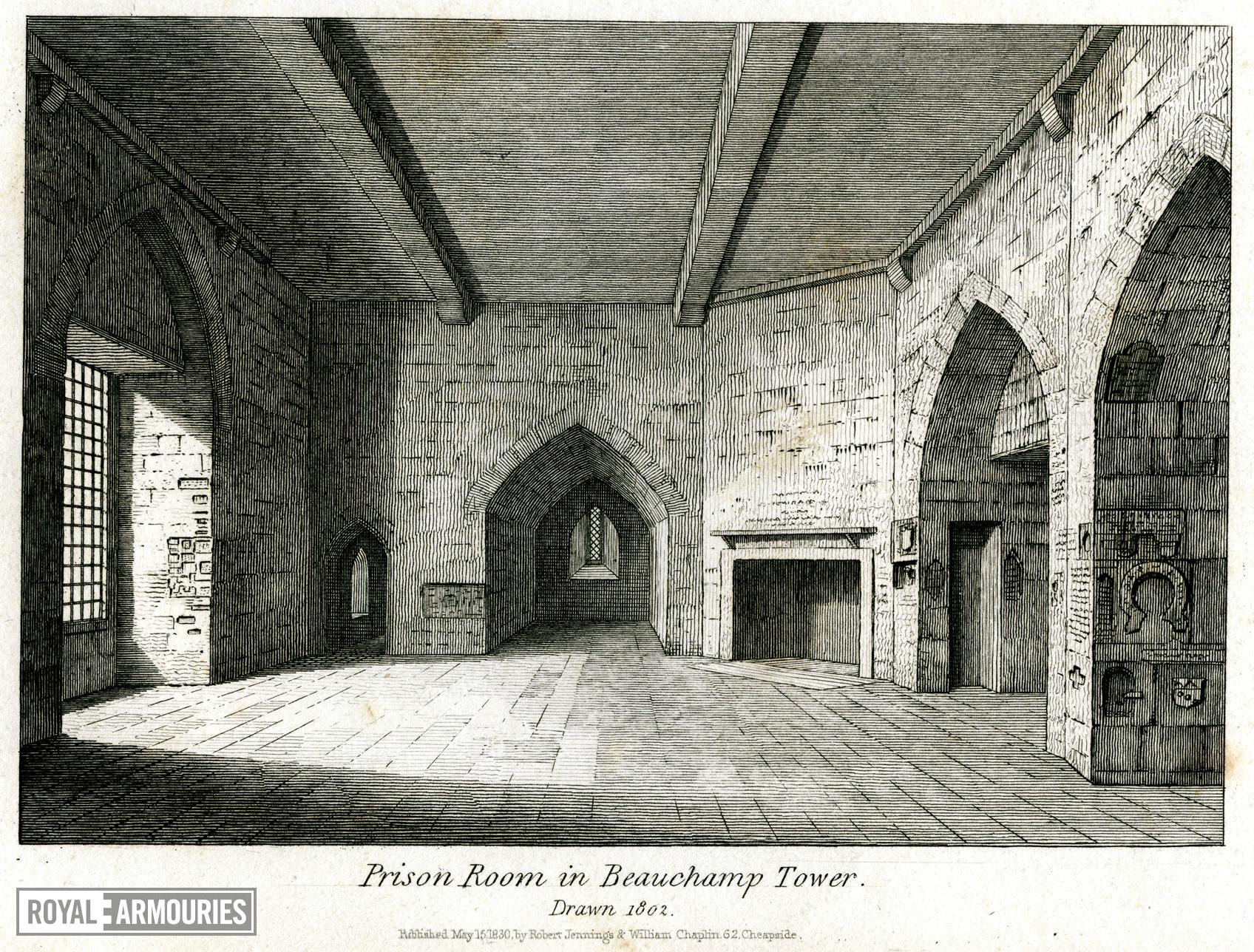 Print 'Prison Room in Beauchamp Tower, Drawn 1802.'