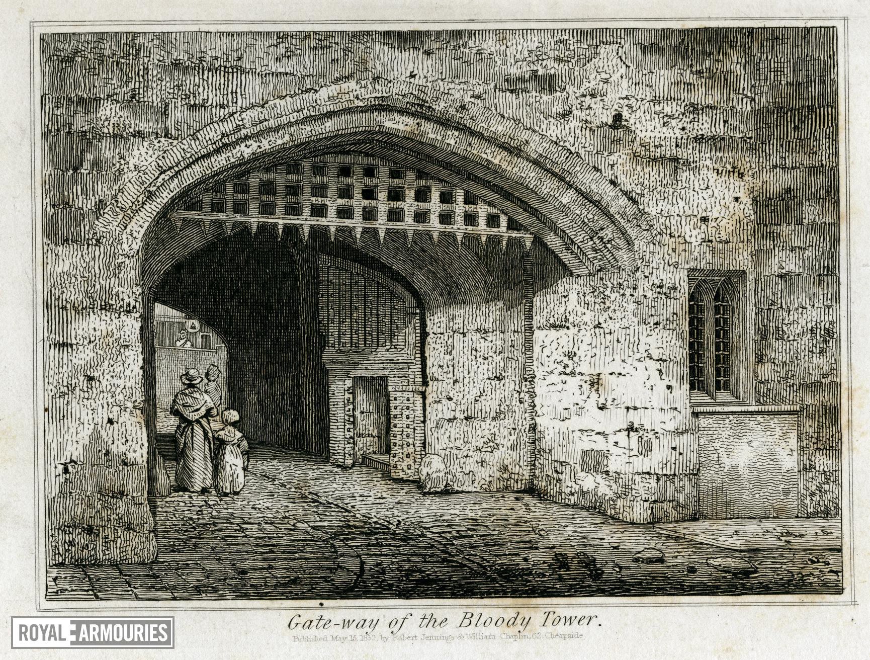 Print 'Gate-way of the Bloody Tower', dated 1830.