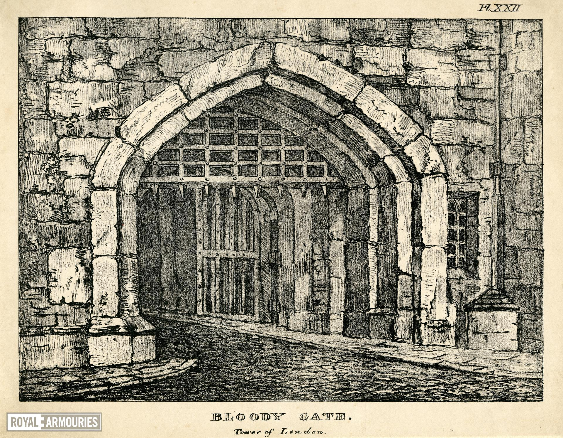 Print 'Bloody Gate, Tower of London', about 1830.