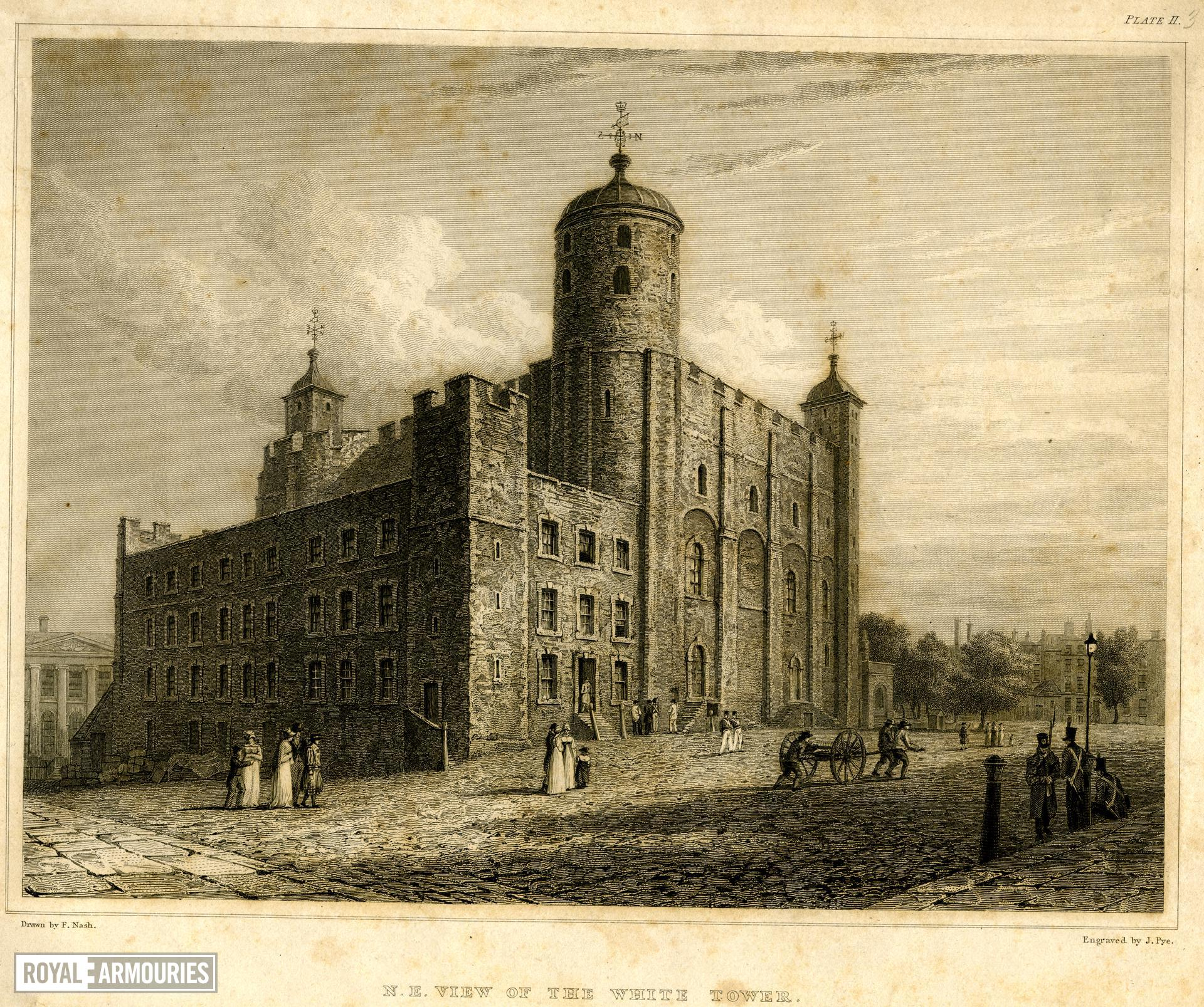 Print 'N.E. View of the White Tower', Tower of London, about 1820.